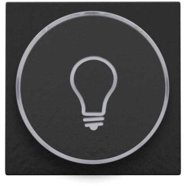 Afwerkingsset met doorschijnende ring met lampsymbool voor drukknop 6A met amberkleurige led met E10-lampvoet, piano black coated