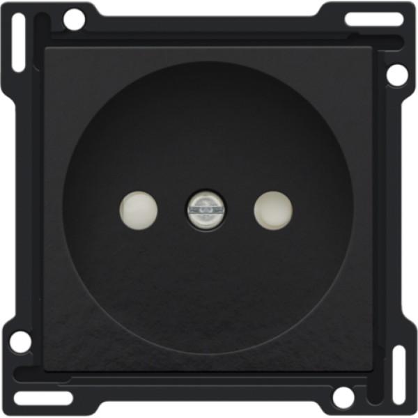 Afwerkingsset voor stopcontact zonder aarding met beschermingsafsluiters, inbouwdiepte 21 mm, Bakelite® piano black coated