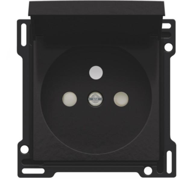Afwerkingsset voor stopcontact met klapdeksel, penaarde en beschermingsafsluiters, inbouwdiepte 28,5 mm, Bakelite® piano black coated