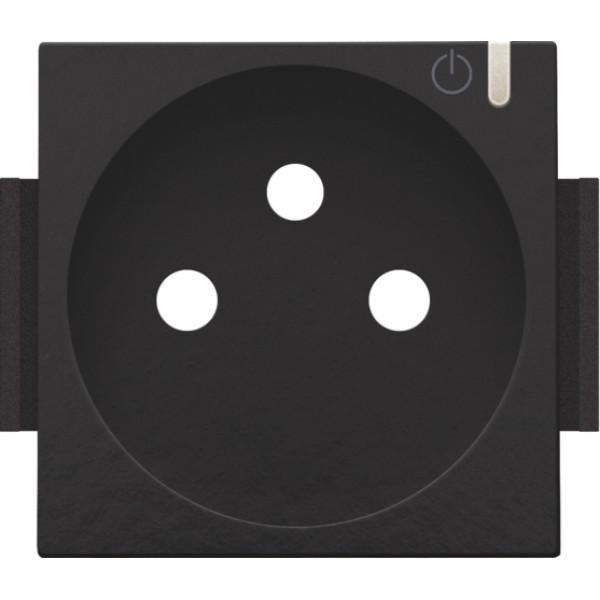 Afwerkingsset voor geconnecteerde schakelbare wandcontactdoos met penaarde en bedieningsknop, Bakelite® piano black coated