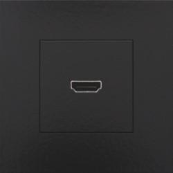 Afwerkingsset met HDMI-naar-HDMI-aansluiting, Bakelite® piano black coated  Niko