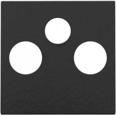 Afwerkingsset voor 2 enkelvoudige coaxaansluitingen voor tv en FM en een satellietaansluiting, Bakelite® piano black coated  Niko