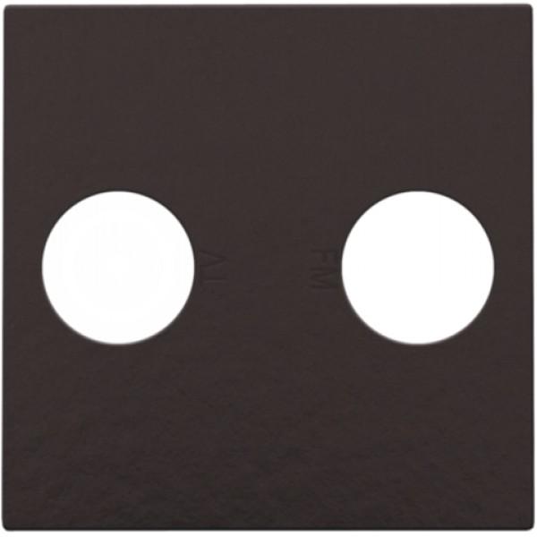 Afwerkingsset voor 2 enkelvoudige coaxaansluitingen voor tv en FM Telenet Interkabel, Bakelite® piano black coated