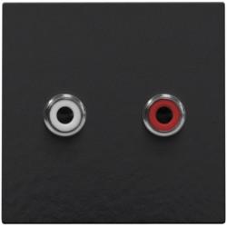 Afwerkingsset met 2 cinch-audioaansluitingen, ook voor inbouw in installatiekanalen, piano black coated  Niko