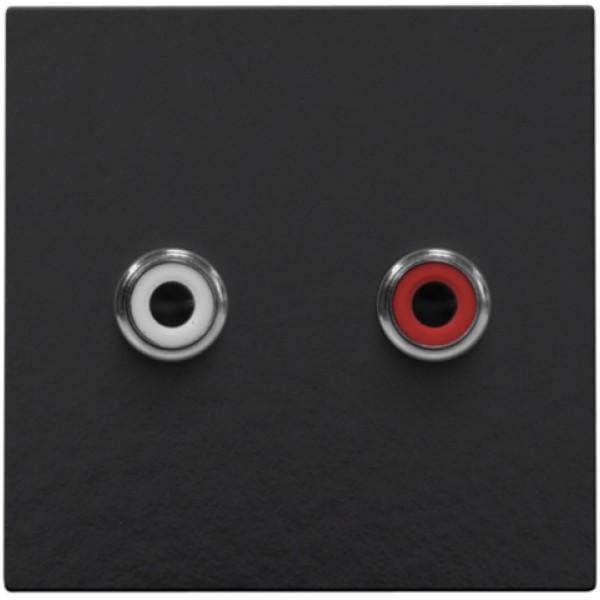 Afwerkingsset met 2 cinch-audioaansluitingen, ook voor inbouw in installatiekanalen, piano black coated