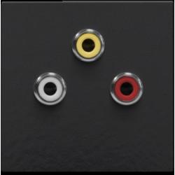Afwerkingsset met 3 cinch-aansluitingen, ook voor inbouw in installatiekanalen, piano black coated  Niko