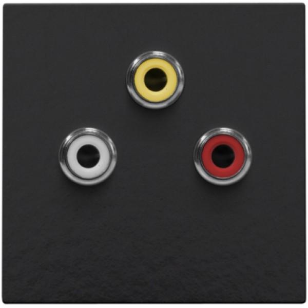 Afwerkingsset met 3 cinch-aansluitingen, ook voor inbouw in installatiekanalen, piano black coated