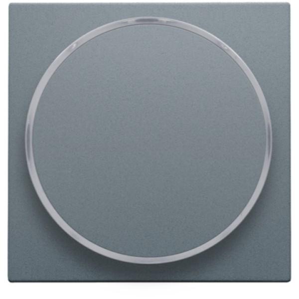 Afwerkingsset met doorschijnende ring zonder symbool voor drukknop 6 A met amberkleurige led met E10-lampvoet, steel grey coated