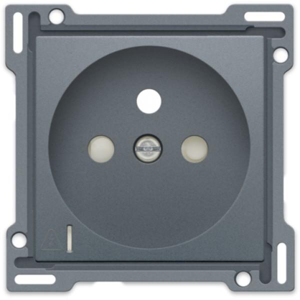 Afwerkingsset voor stopcontact met overspanningsbeveiliging, penaarde en beschermingsafsluiters, inbouwdiepte 28,5 mm, incl. overspanningsmodule met rode led, alu steel grey coated