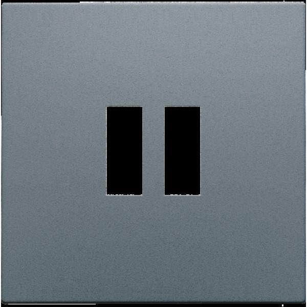 Afwerkingsset voor dubbele USB-A-lader, alu steel grey coated
