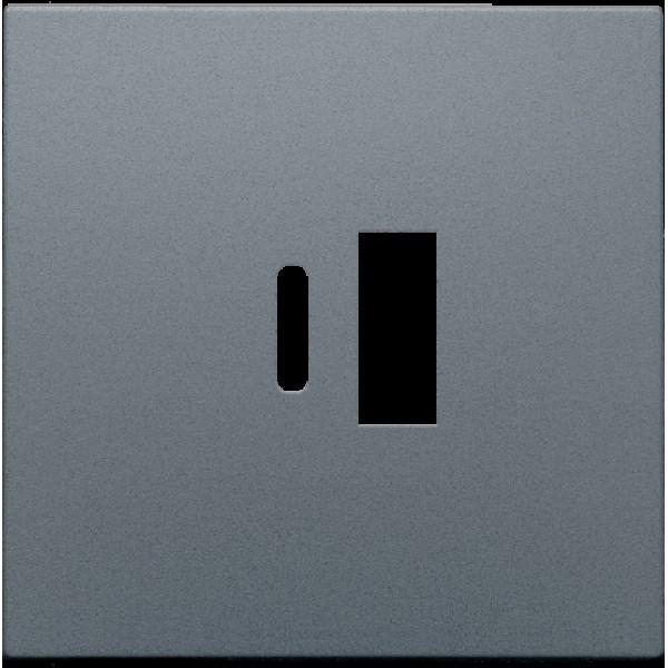Afwerkingsset voor dubbele smart USB-A en USB-C-lader, alu steel grey coated