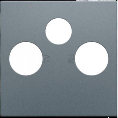 Afwerkingsset voor 2 enkelvoudige coaxaansluitingen voor tv en FM en een satellietaansluiting, alu steel grey coated  Niko