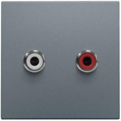 Afwerkingsset met 2 cinch-audioaansluitingen, ook voor inbouw in installatiekanalen, steel grey coated  Niko
