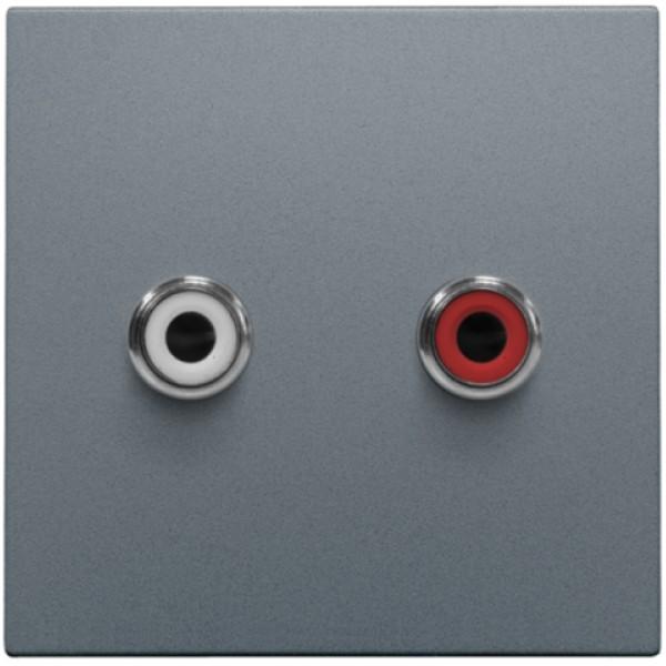Afwerkingsset met 2 cinch-audioaansluitingen, ook voor inbouw in installatiekanalen, steel grey coated