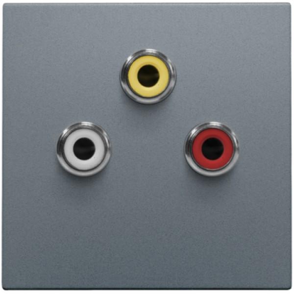 Afwerkingsset met 3 cinch-aansluitingen, ook voor inbouw in installatiekanalen, steel grey coated