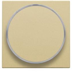 Afwerkingsset met doorschijnende ring zonder symbool voor drukknop 6 A met amberkleurige led met E10-lampvoet, gold coated  Niko