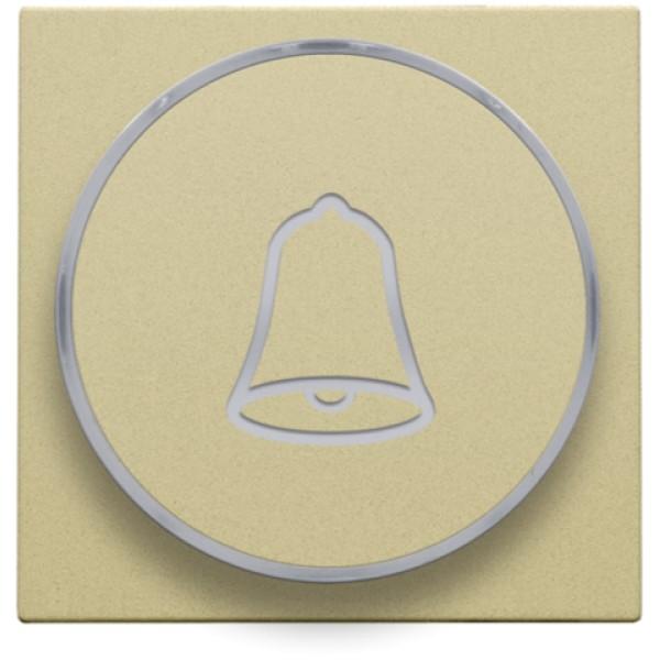 Afwerkingsset met doorschijnende ring met belsymbool voor drukknop 6 A met amberkleurige led met E10-lampvoet, gold coated