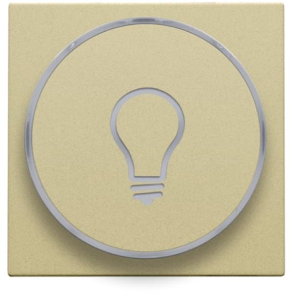 Afwerkingsset met doorschijnende ring met lampsymbool voor drukknop 6A met amberkleurige led met E10-lampvoet, gold coated