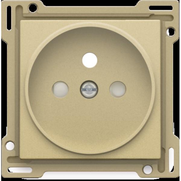 Afwerkingsset voor stopcontact met penaarde en beschermingsafsluiters, inbouwdiepte 21 mm, alu gold coated