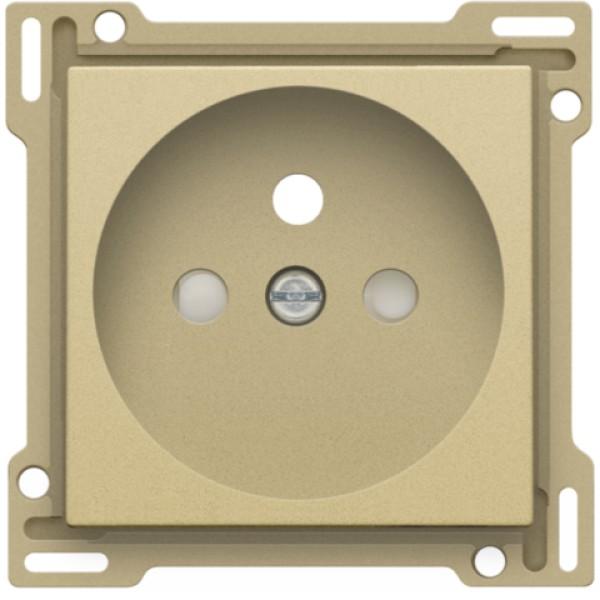 Afwerkingsset voor stopcontact met penaarde en beschermingsafsluiters, inbouwdiepte 28,5 mm, alu gold coated