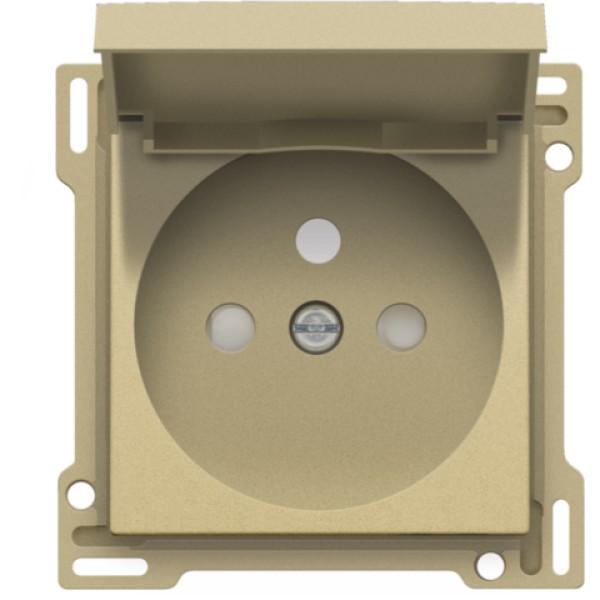 Afwerkingsset voor stopcontact met klapdeksel, penaarde en beschermingsafsluiters, inbouwdiepte 28,5 mm, alu gold coated