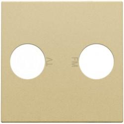 Afwerkingsset voor 2 enkelvoudige coaxaansluitingen voor tv en FM Telenet Interkabel, alu gold coated  Niko