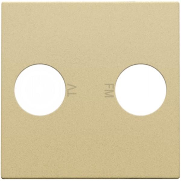 Afwerkingsset voor 2 enkelvoudige coaxaansluitingen voor tv en FM Telenet Interkabel, alu gold coated