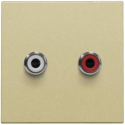 Afwerkingsset met 2 cinch-audioaansluitingen, ook voor inbouw in installatiekanalen, gold coated  Niko