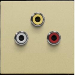 Afwerkingsset met 3 cinch-aansluitingen, ook voor inbouw in installatiekanalen, gold coated  Niko