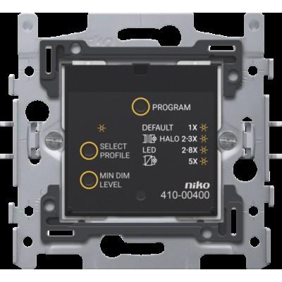 Slimme universele drukknopdimmer met RF-zender en -ontvanger, 3-200 W, 2-draads, met klauwbevestiging  Niko