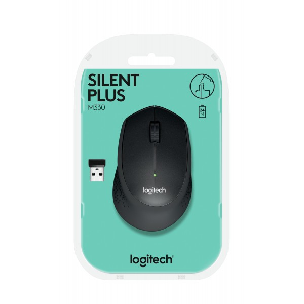 Logitech Computermuis M330 Silent Plus Zwart