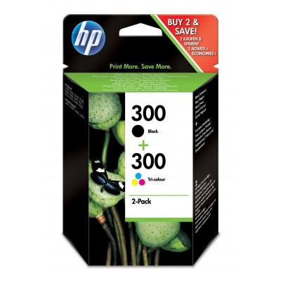 300 originele zwarte/drie-kleuren inktcartridges, 2-pack HP