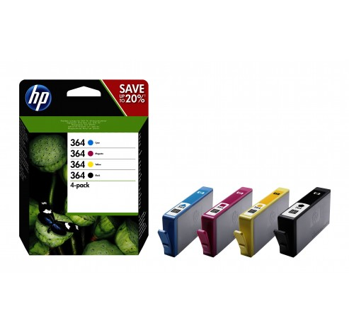 HP 364 - 4 - zwart, geel, cyaan, magenta - origineel - inktcartridge  HP