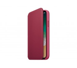 Leren Folio-hoesje voor iPhone X - Bessenrood Apple