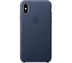Leren hoesje voor iPhone XS Middernachtblauw Apple
