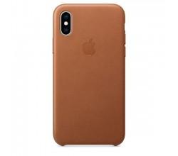 Leren hoesje voor iPhone XS Zadelbruin Apple