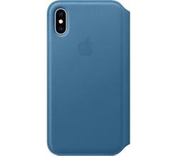 Leren Folio-hoesje voor iPhone XS Cape Cod-blauw Apple