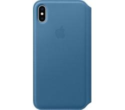 Leren Folio-hoesje voor iPhone XS Max Cape Cod-blauw Apple