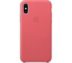 Leren hoesje voor iPhone XS Pioen Apple