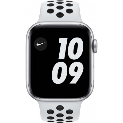 Watch Nike SE 44mm Zilver Aluminium Witte Sportband Apple