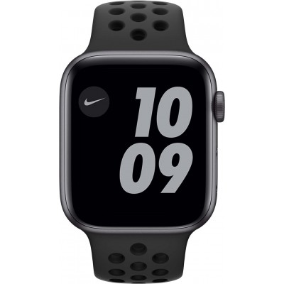 Watch Nike SE 44mm Aluminium Gris Sidéral Bracelet Sport Noir Apple