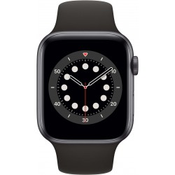 Watch Series 6 44mm Space Gray Aluminium Zwarte Sportband