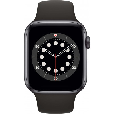 Watch Series 6 44 mm Aluminium Gris Sidéral Bracelet Sport Noir Apple