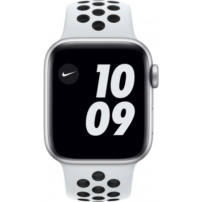 Watch Nike Series 6 40 mm Aluminium Argent Bracelet Sport Blanc Apple