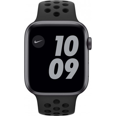 Watch Nike Series 6 44 mm Aluminium Gris Sidéral Bracelet Sport Noir Apple