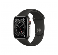 Apple Watch Series 6 GPS + Cellular 44mm Graphite Stainless Steel Case with Black Sport Band - Regular