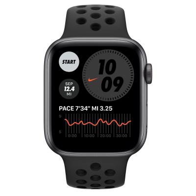 Watch Nike SE GPS + Cellular 44mm Spacegrijs Aluminium Zwart Sportbandje Apple