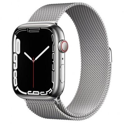 Apple Watch Series 7 GPS + Cellular 45mm Zilver Roestvrij Staal met Milanees Bandje Zilver