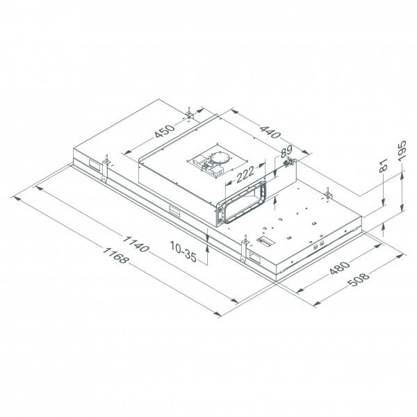 6821 Plafonddampkap Pure'line Compact 120 cm Wit  Novy