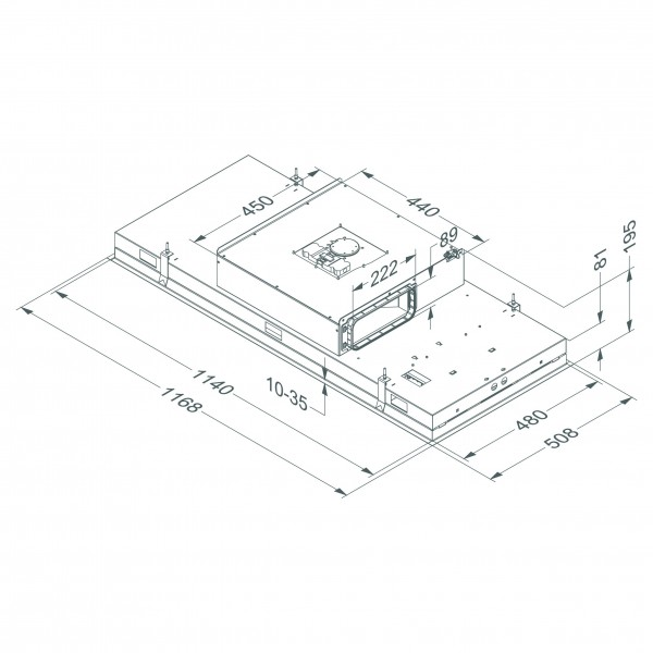 6822 Plafonddampkap Pure'line Compact 120 cm Zwart  Novy